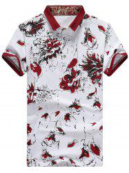 Floral Printed Half Button Polo Shirt - RED