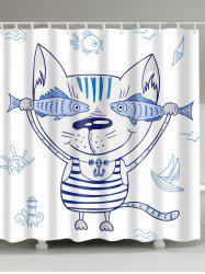 Mouldproof Cartoon Cat Animal Shower Curtain