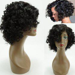 Dyed Perm Side Bang Short Funmi Curly Lace Front 100% perruque de cheveux humains - Noir