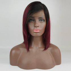 Side Bang Medium Straight Bob Colormix Human Hair Wig