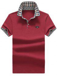 Check Trim Embroidery Polo Shirt