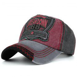Letters Patchwork Sanding Nostalgic Washed Baseball Cap - BLACK GREY