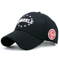 Pentagram Embellished Letters Icon Embroidery Baseball Hat - BLACK