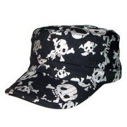 Flat Top Shimmer Skull Printing Military Hat