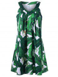 Sleeveless Tropical Print Tent Dress