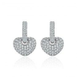 Detachable Rhinestoned Heart Hoop Drop Earrings