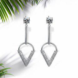Rhinestone V-Shaped Bar Drop Earrings