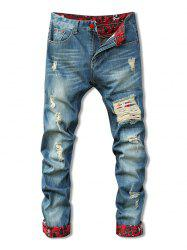 Zipper Fly Holes Cat's Whisker Design Crimping Straight Leg Jeans For Men - BLUE
