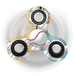 Fiddle Toy Tri-bar Baseball Patterned Plastic Fidget Spinner - EARTHY