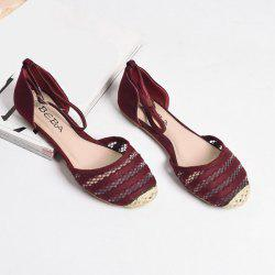 Colour Block Weaving Flat Shoes - WINE RED