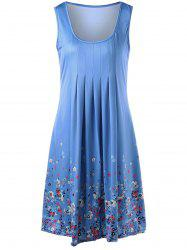 U Neck Sleeveless Knee Length Floral Dress - LIGHT BLUE