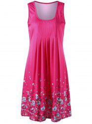 U Neck Sleeveless Knee Length Floral Dress - ROSE MADDER