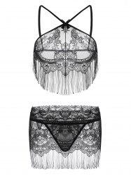 Sheer Lace Fringe Lingerie Bra Set - BLACK