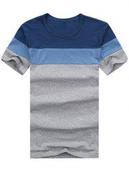 Short Sleeve Color Block Striped Tee - DENIM BLUE