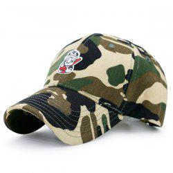 Camouflage Cartoon Figure Embroidered Baseball Hat