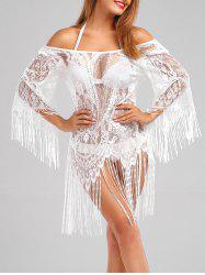 Off Shoulder Fringed Sheer Lace Cover Up - WHITE
