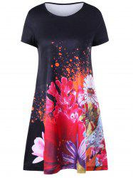 Short Sleeve Mini Floral Tee Dress