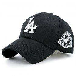 Emblem Letters Embroidered Baseball Hat - BLACK