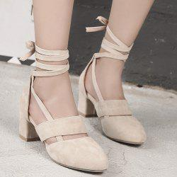 Tie Up Block Heel Pumps - APRICOT