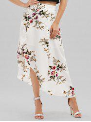 Floral Asymmetrical Wrap Skirt - WHITE