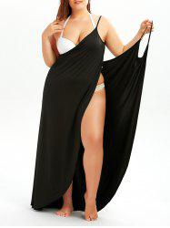Plus Size Cover Up Beach Wrap Dress - BLACK
