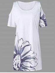 Floral Plus Size Cold Shoulder Tee Dress - WHITE 3XL