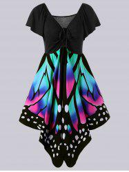 Plus Size Empire Waist Butterfly Pattern Dress - BLACK AND PINK