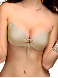 Scalloped Lace-Up Backless Adjustable Adhesive Bra - COMPLEXION