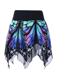 High Waist Butterfly Print Handkerchief Skirt - BLUE