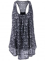 Print Racerback Tank Top - BLACK