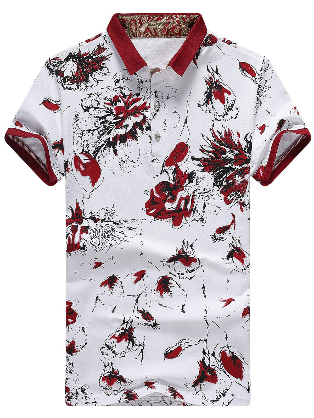 Fancy Floral Printed Half Button Shirt