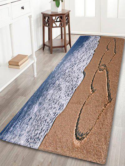 Beach Heart Print Coral Fleece Bath Area RugHOME<br><br>Size: W24 INCH * L71 INCH; Color: COLORMIX; Products Type: Bath rugs; Materials: Coral FLeece; Pattern: Print; Style: Beach Style; Shape: Rectangle; Package Contents: 1 x Area Rug;