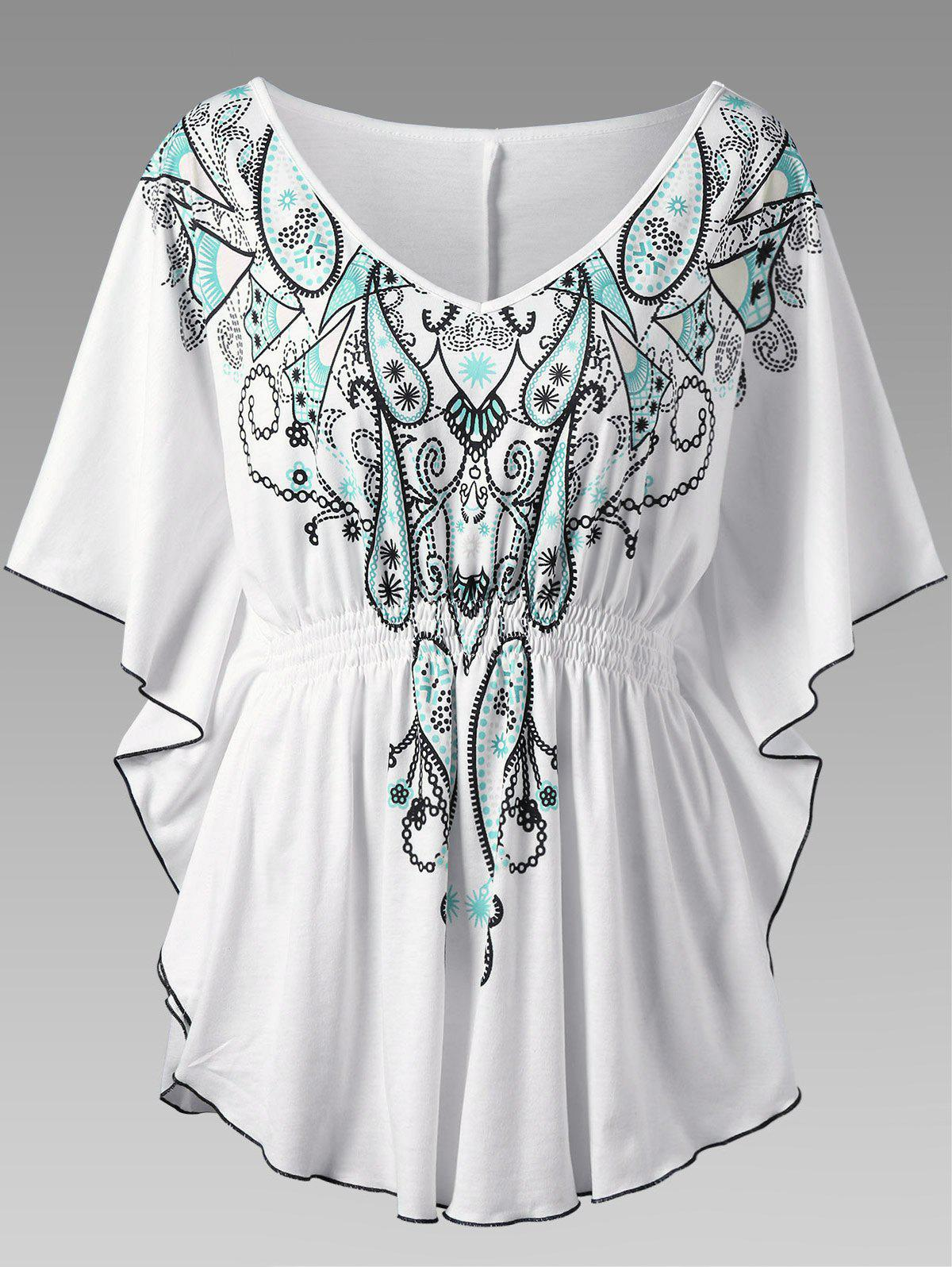 Butterfly Sleeve Graphic Asymmetrical Plus Size TopWOMEN<br><br>Size: 5XL; Color: WHITE; Material: Polyester,Spandex; Shirt Length: Long; Sleeve Length: Three Quarter; Collar: V-Neck; Style: Fashion; Season: Fall,Spring,Summer; Sleeve Type: Butterfly Sleeve; Pattern Type: Print; Weight: 0.3500kg; Package Contents: 1 x Top;