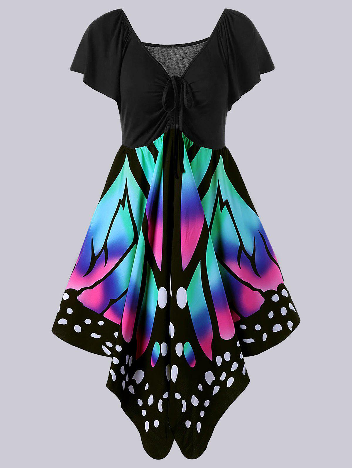 Plus Size Empire Waist Butterfly Pattern DressWOMEN<br><br>Size: 5XL; Color: BLACK AND PINK; Style: Novelty; Material: Polyester,Spandex; Silhouette: A-Line; Dresses Length: Knee-Length; Neckline: V-Neck; Sleeve Length: Short Sleeves; Pattern Type: Butterfly; With Belt: No; Season: Summer; Weight: 0.3600kg; Package Contents: 1 x Dress;