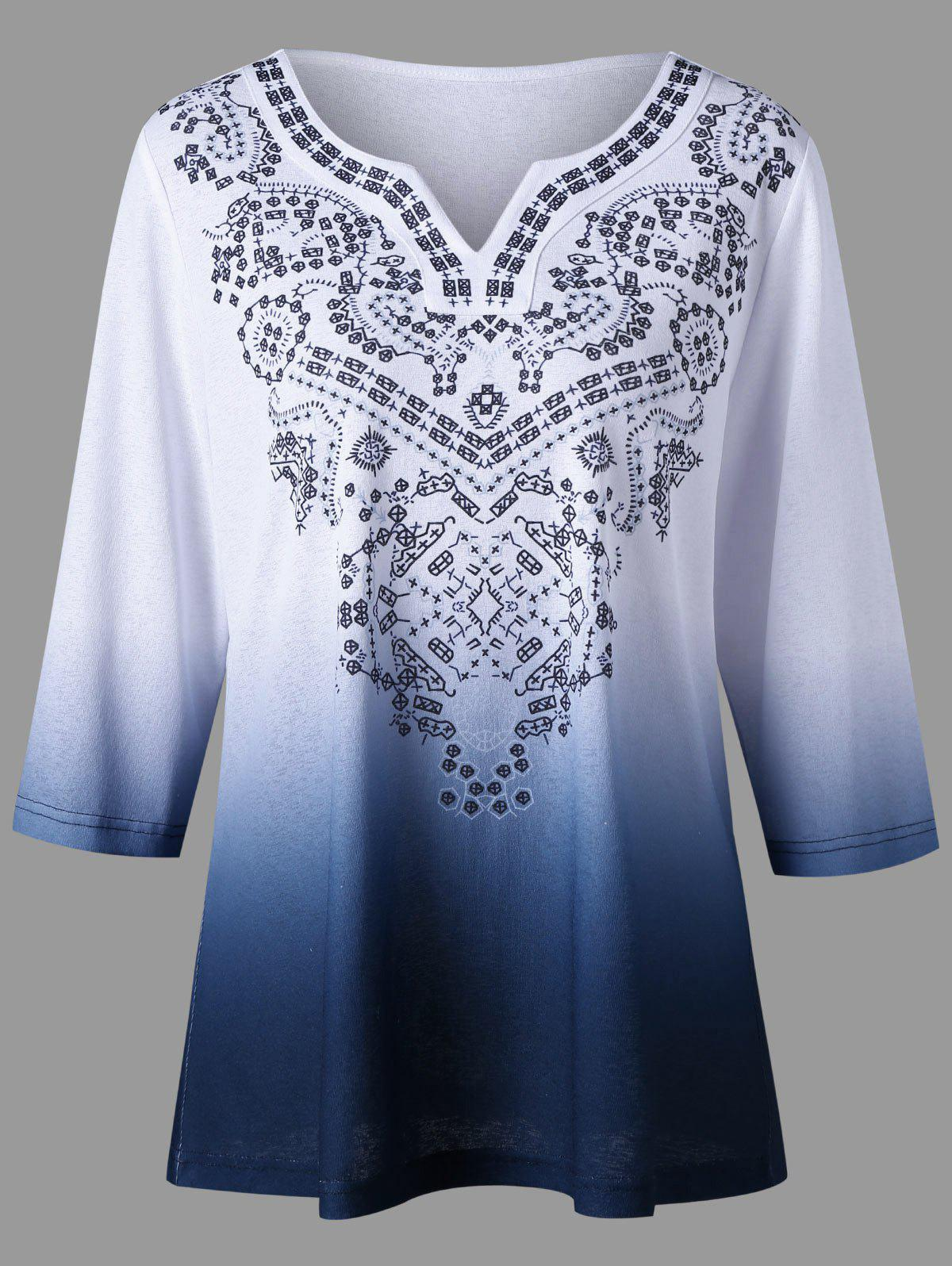 Plus Size V Neck Ombre TopWOMEN<br><br>Size: XL; Color: COLORMIX; Material: Polyester; Shirt Length: Regular; Sleeve Length: Three Quarter; Collar: V-Neck; Style: Casual; Season: Summer; Pattern Type: Print; Weight: 0.3500kg; Package Contents: 1 x Top;