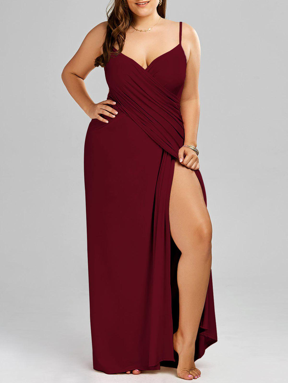 Plus Size Flowy Cover Up Wrap DressWOMEN<br><br>Size: 3XL; Color: WINE RED; Gender: For Women; Swimwear Type: Cover-Up; Material: Polyester,Spandex; Pattern Type: Solid; Waist: Natural; Weight: 0.3000kg; Package Contents: 1 x Dress;