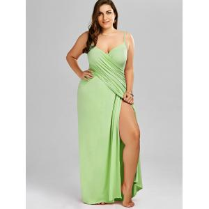 Plus Size Flowy Cover Up Wrap Dress - LIGHT GREEN 3XL