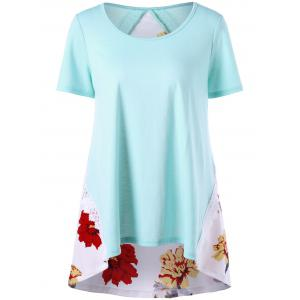 Floral Lace Trim High Low Hem T-shirt - PINKISH BLUE XL