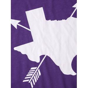 Short Sleeve Arrow Pattern Tee - PURPLE L