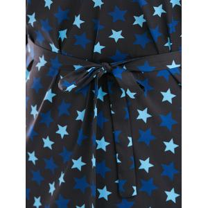 Star Print Plus Size V Neck Dress - BLACK 3XL