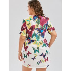 Butterfly Printed Plus Size Shift Dress - COLORMIX 3XL