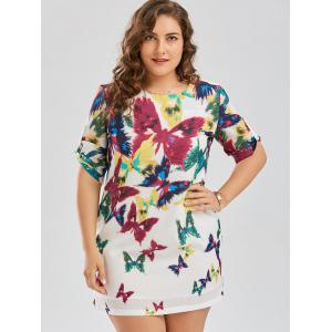 Butterfly Printed Plus Size Shift Dress -