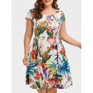Print Plus Size Cap Sleeve Flare Dress