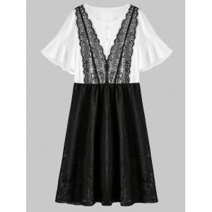 Lace Trim A Line Plus Size Homecoming Dress