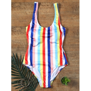 One Piece Colorful Rainbow Striped Swimwear - Colorful - S