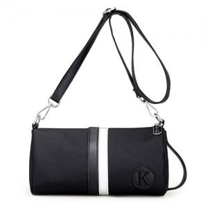 Nylon Contrast Stripe Crossbody Bag - White And Black - 40