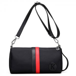 Nylon Contrast Stripe Crossbody Bag - Red With Black - 38
