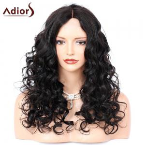 Adiors Middle Part Long Shaggy Curly Synthetic Wig - Black - 22inch