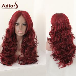 Adiors Middle Parting Shaggy Layered Long Curly Synthetic Wig - Dark Red - 28inch