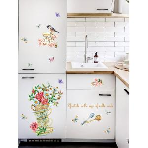 Home Decor Floral Bird Butterfly Quote Wall Sticker - FLORAL 50*70CM